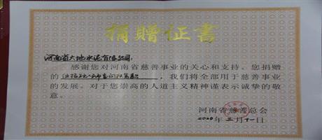 河南省ballbet体彩官网水泥有限公司向河南省慈善总会捐款50万元